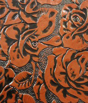 Кожа цветы коричневые 3D